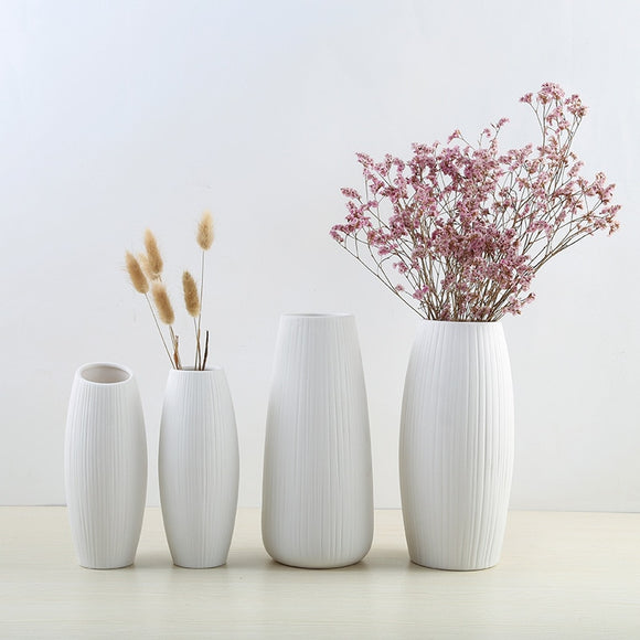 White Ceramic Vase Nordic Home Flower Modern  House Living Room Decorations