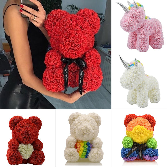 25cm & 40cm Rose Teddy Bear Unicorn Flower New Year Birthday Anniversary Gift
