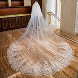 Romantic 5M Wedding Cathedral Two Layer Lace Veil