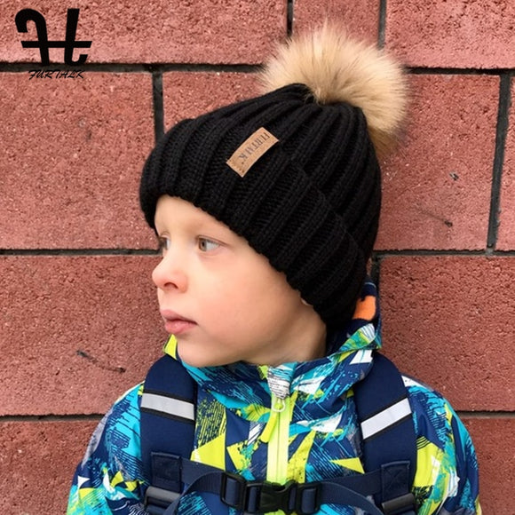 Kids Winter Hat Beanie Toddler Boys Girls Knit Faux Fur Pom Pom Children Age 1-10