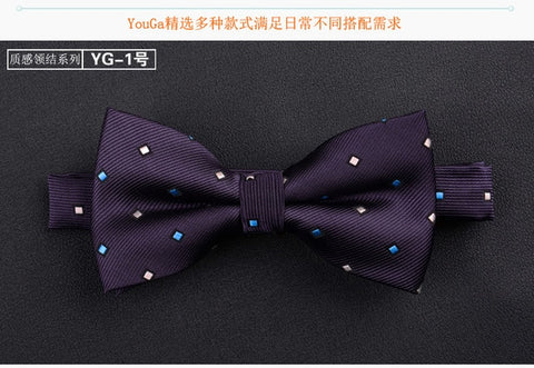 Jacquard Woven Solid Polka Dots Butterfly Bowtie
