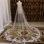 Long Cathedral Lace Appliques Wedding Veil with Comb