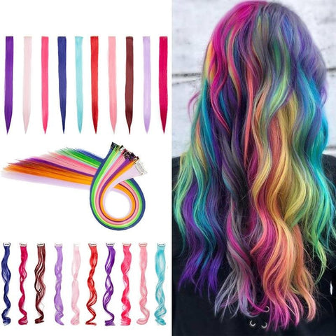 Synthetic Hair Clips Extension Colored Highlights Rainbow