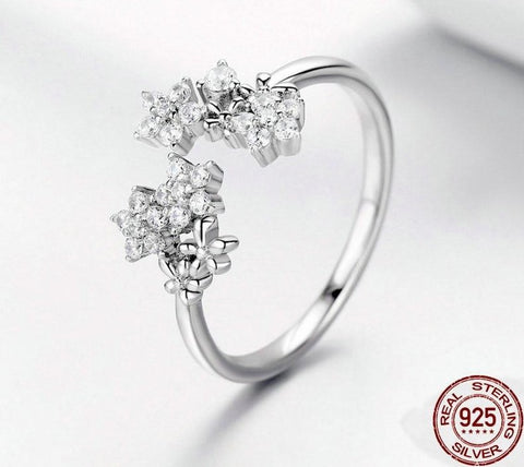 Shining 925 Sterling Silver Daisy Clear CZ Adjustable Rings