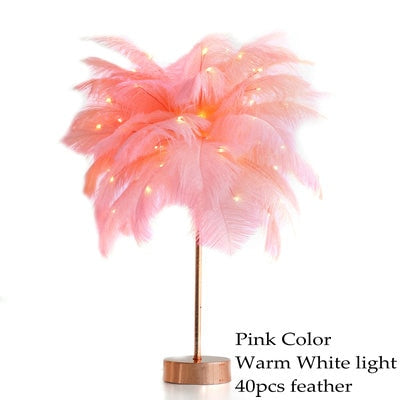 Feather Tree Table Lamp Warm White Light