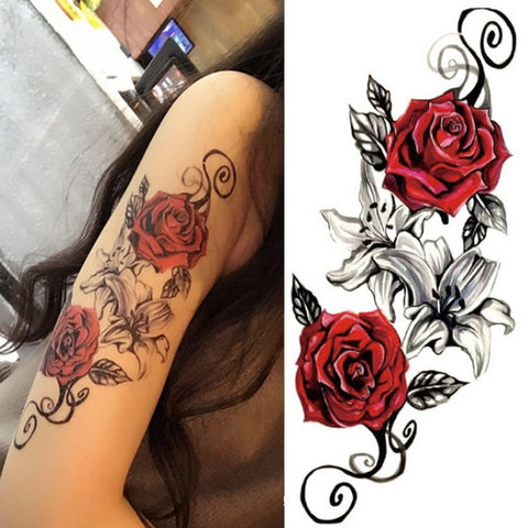 Beautiful Floral Rose Temporary Body Tattoos
