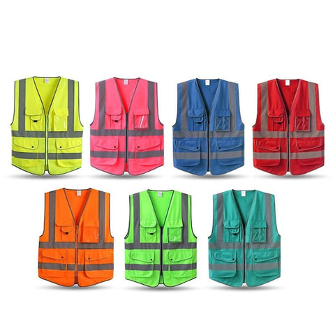 9 Pockets Safety High Visibility Zipper Front Vest Reflective Strips Sizes (S/M/L)
