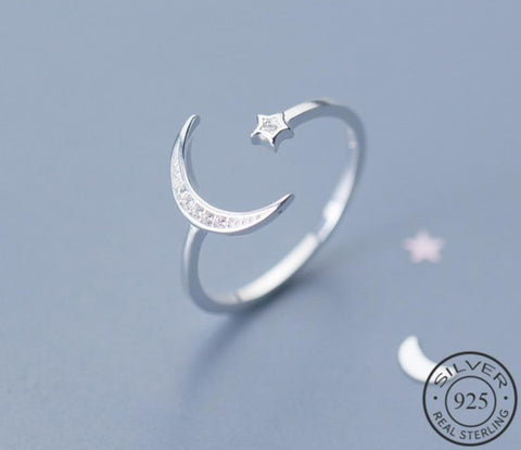 Moon Star 925 Sterling Silver Zircon Adjustable Ring