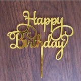 Gold Silver Acrylic Happy Birthday Love Heart Cake Topper