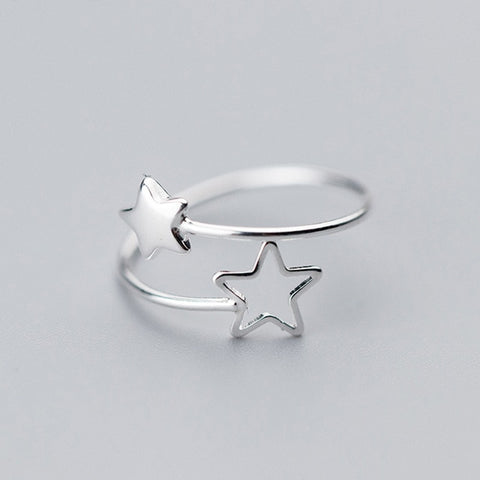 Hollow Star 925 Sterling Silver Adjustable Ring