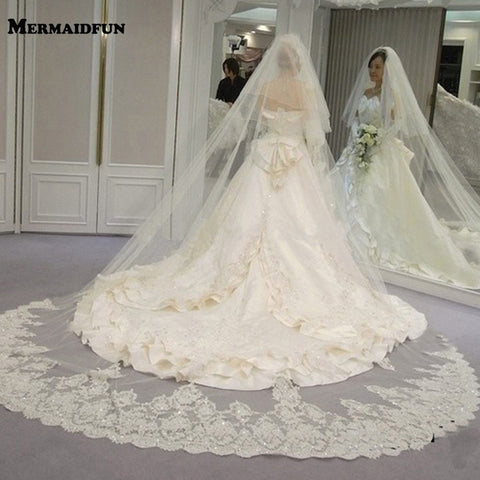 2 Layers Long Wedding Veil Bling Sequins Lace Bridal