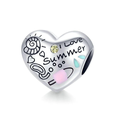 Engraved Summer Heart Charm 925 Sterling Silver