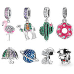 925 Sterling Silver Sparkling CZ Flamingo Cactus Charms