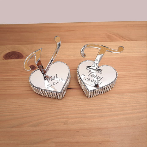 2 PC Personalized Mirror Heart Standing Letter Diamond