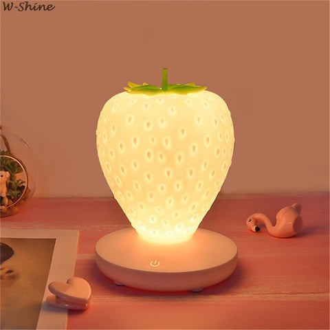 Touch Dimmable LED Night Light Silicone Strawberry Decor