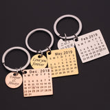 Personalized Stainless Steel Calendar Key Chain Anniversary Gift