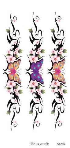 Tribal Black Butterfly Flower Temporary Tattoo Design