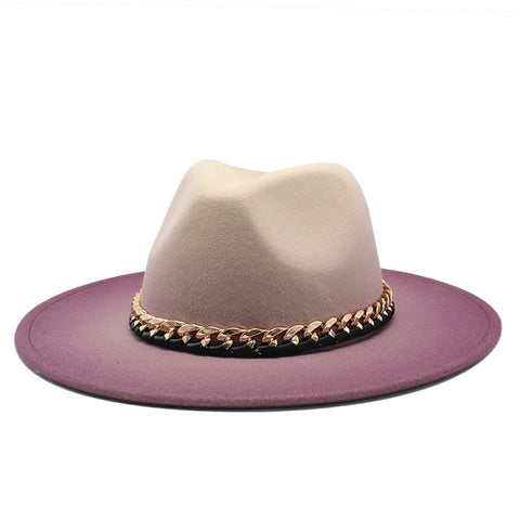 Elegant Ombre Winter Autumn Women Fedora Hat Jazz