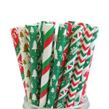25pcs Christmas Paper Straws Party Supplies