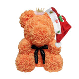 Merry Christmas Rose Teddy Bear with Crown Gift