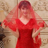 Red Wedding Veils 1.5/3/5M Lace Edge Bridal Accessories