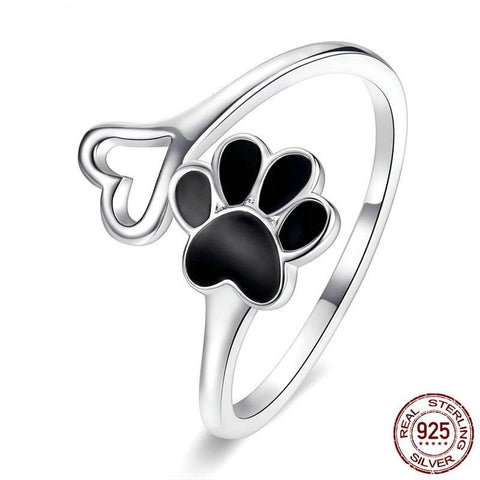 Paw Dog Footprint Heart 925 Sterling Silver Adjustable Rings
