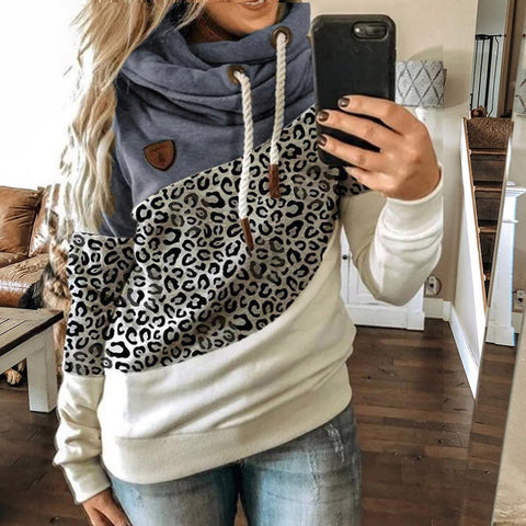 Winter Leopard Casual Turtleneck Sweatshirt