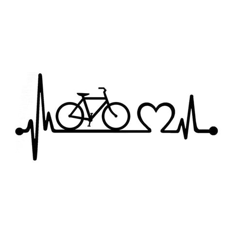 Bicycle Heartbeat Lifeline Cycling Vinyl Stickers Decal Black Silver