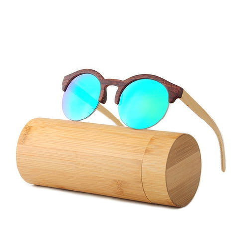Womens Wooden Round Mirror Sunglasses