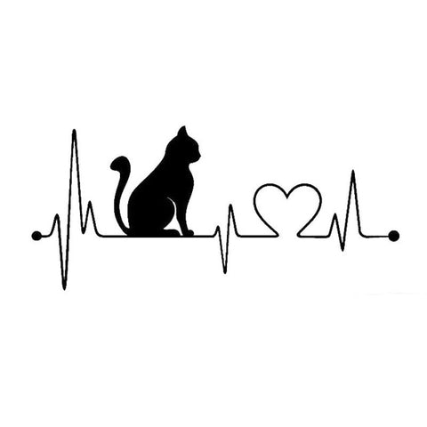 Cat Heartbeat Lifeline Vinyl Decal Car Sticker Black Silver