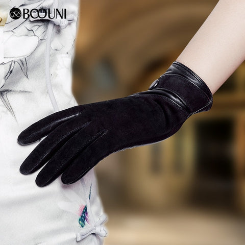 Genuine Leather Suede Thermal Winter Gloves