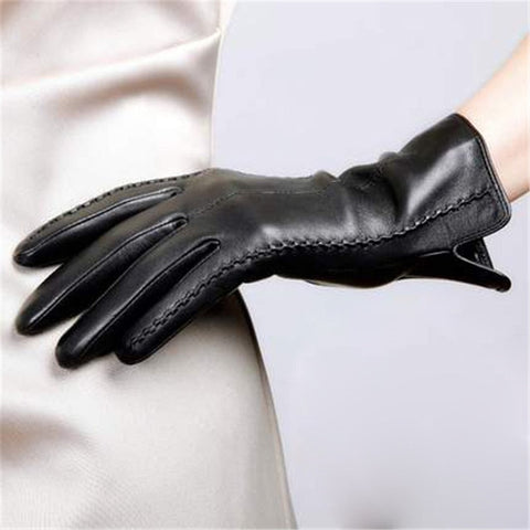 Elegant Womens Genuine Lambskin Leather Gloves Plus Velvet Thermal Blue Brown Purple