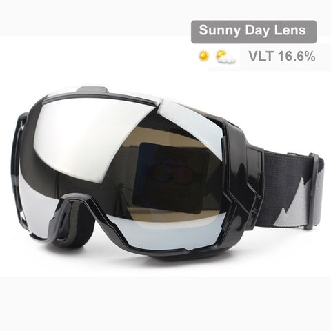 Ski Goggles UV400 Anti-Fog Lens Snowboard Sunglasses Wear Over Rx Glasses