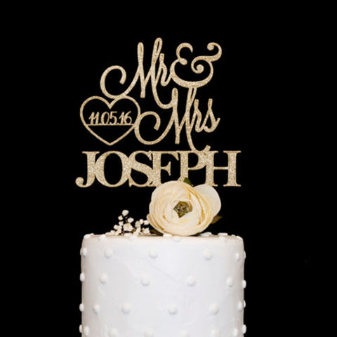 Customized Wooden Acrylic Wedding Cake Topper