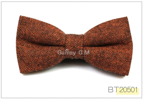 Wool Bowties For Men Casual Solid Colors Adjustable Winter