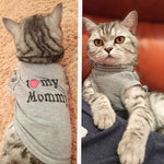 Cat Clothes Pet Vest Apparel I Love My Mommy Daddy Tshirt