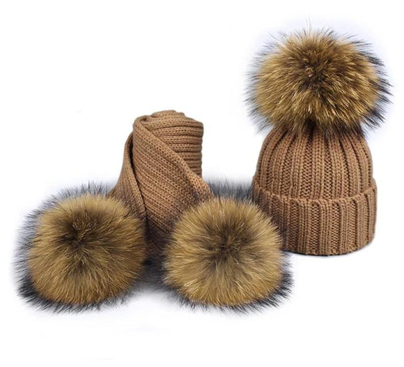 Childrens Girl Pom Pom Beanie Warm Knitted Bobble Fur Hat Scarf Set Winter Skullies