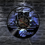 Vinyl Wall Clock Drums Set LED Backlight Music Band