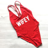 WIFEY Swimsuit One Piece Beach Bathing Suit