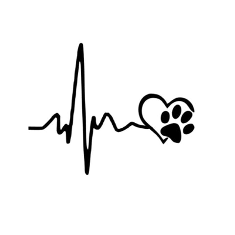 Heartbeat Love Dog Footprint Vinyl Car Sticker Decal