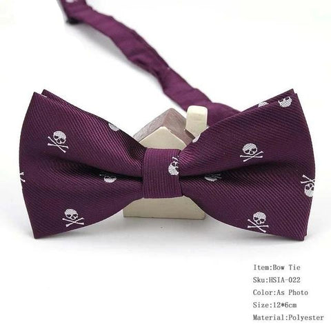Mens Polyester Silk Bow Tie Skull Pirates Tuxedo Banquet Bowknot Butterfly Bowtie Wedding Gift