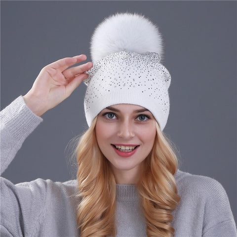 Women Winter Beanie Hat Rabbit Fur Wool Rhinestone