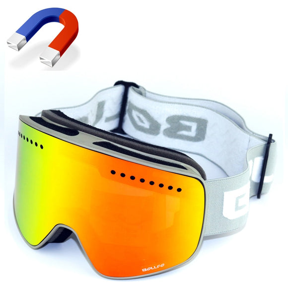 Unisex Winter BOLLFO Magnetic Ski Glasses Mountaineering UV400 Anti-Fog Goggles