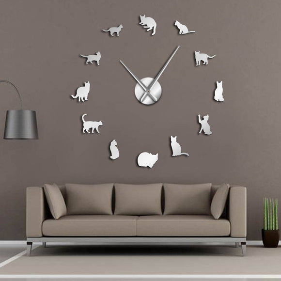 Big Wall Clock Silhouette Cats Wall Art Kittens Room Decor