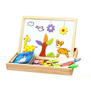 19 STYLES Wooden Magnetic Puzzle Figure Animals House Plant Drawing Board Box Toy