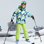 Children Ski Suit Jacket Snow Pants Thermal Winter Hooded Set