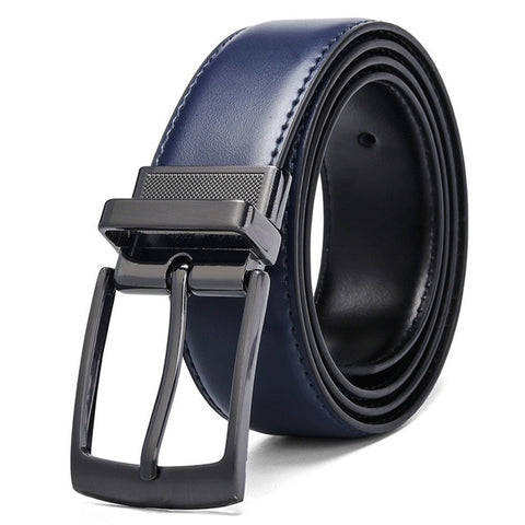 3 COLORS Luxury Fashion Mens Reversible Genuine Leather Belt Blue Brown