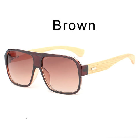 Mens Bamboo Sunglasses Shield Retro Vintage Wooden Square Glasses