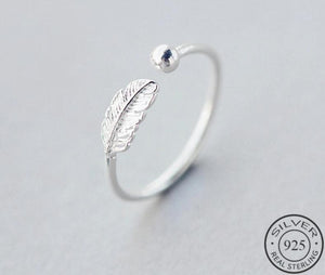 Authentic Ring 925 Sterling Silver Cute and Elegant Feather Adjustable Jewelry