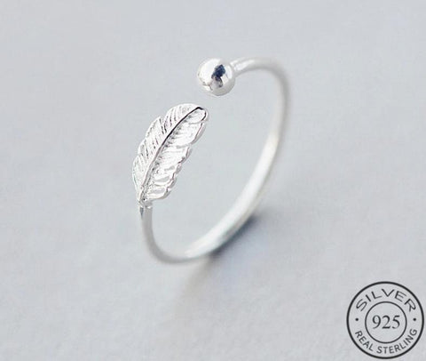 Ring 925 Sterling Silver Feather Adjustable Jewelry